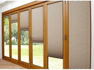Deluxe 2.4M Bifold doors Brown trim Blinds open