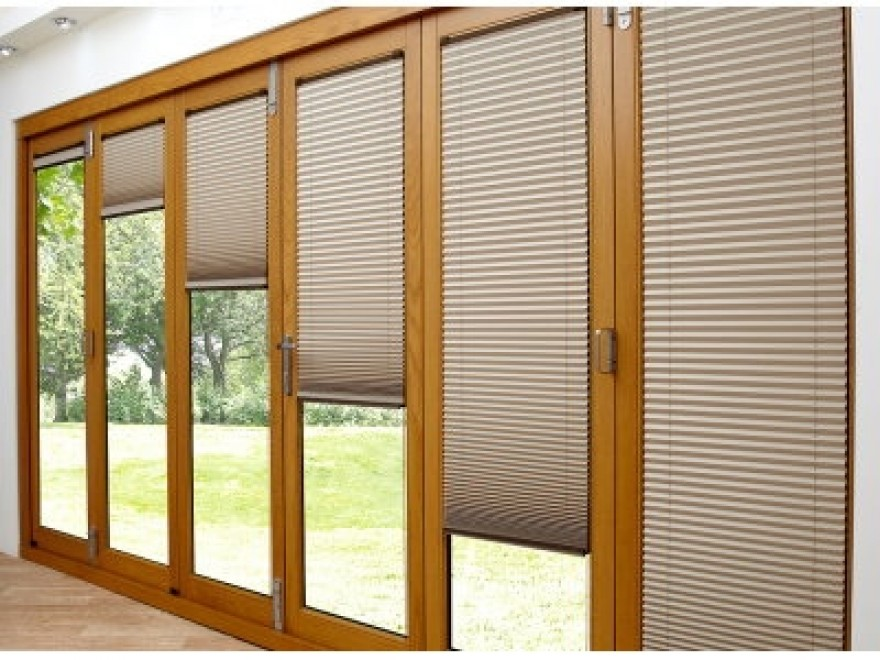 Deluxe 2.1M Bifold doors Brown trim Blinds open