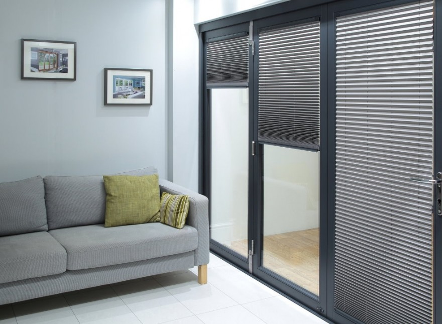 Select Grey 3.6M Bifold doors Grey trim Blinds partially open