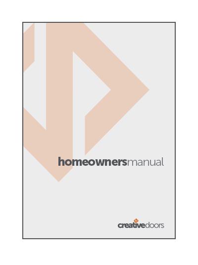 Homeowner's Manual  (PDF).