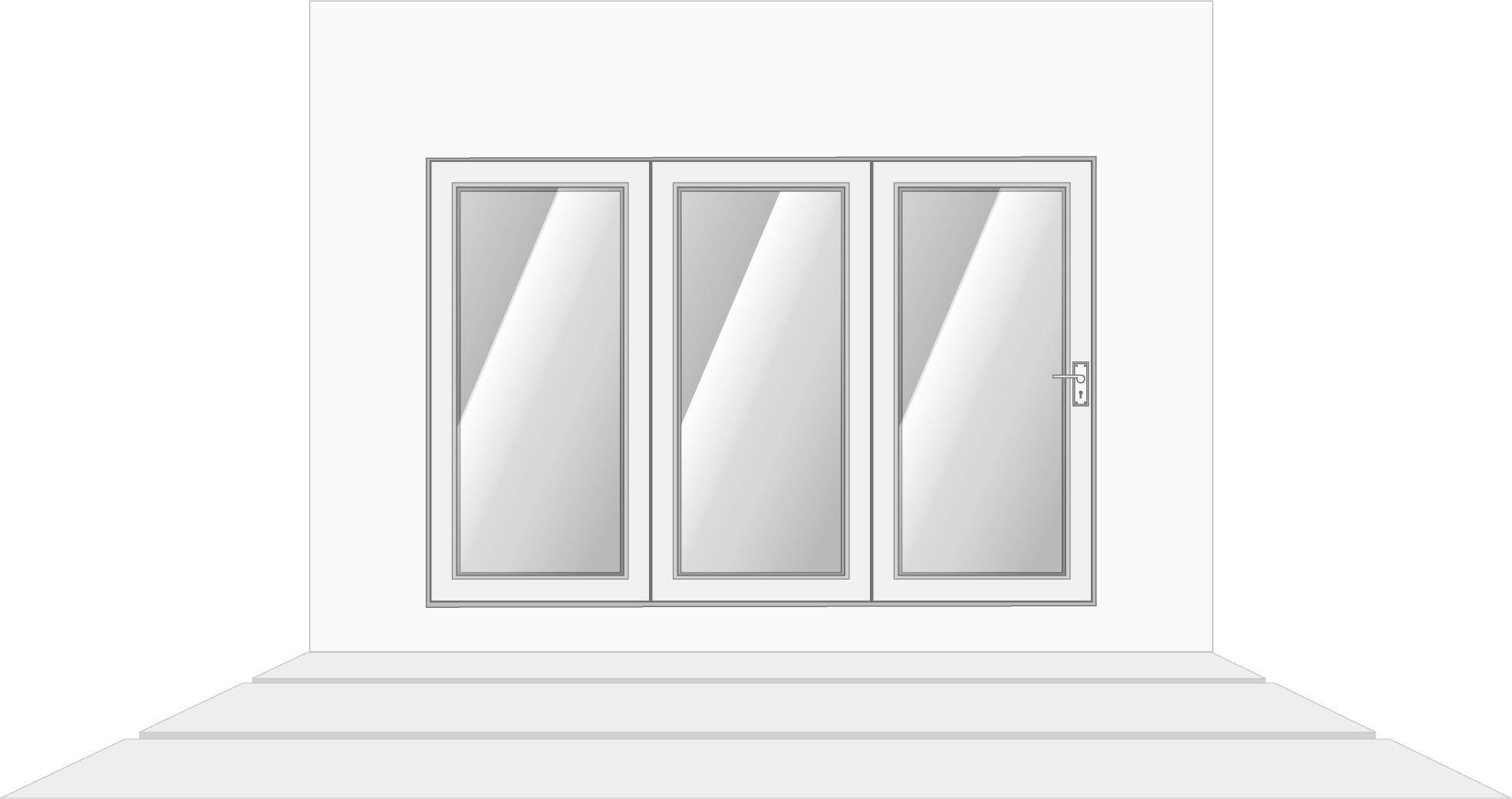 3-door left opening, closed