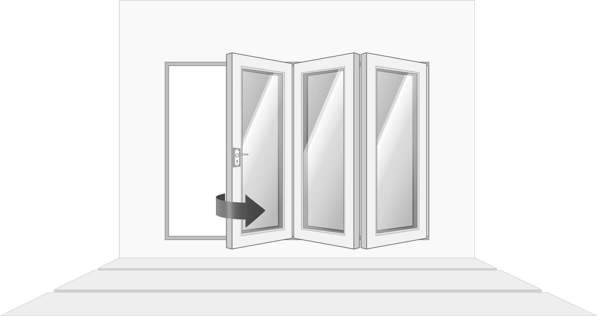 3-door right opening, open