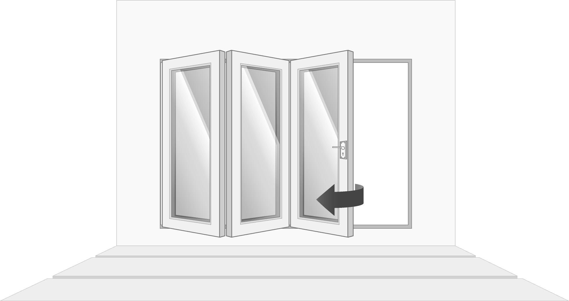 3-door left opening, open