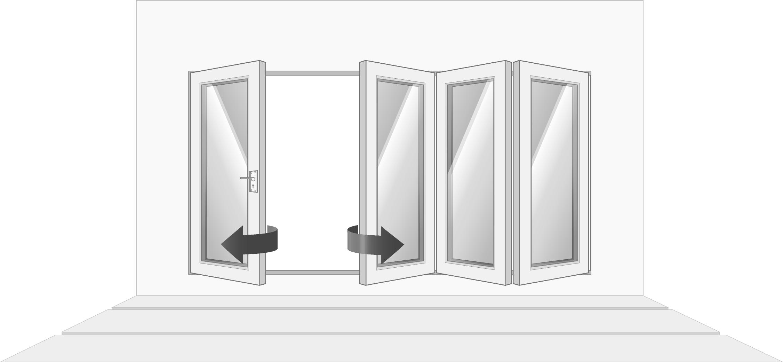 4-door right opening, open