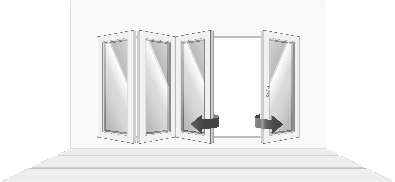 4-door left opening, open
