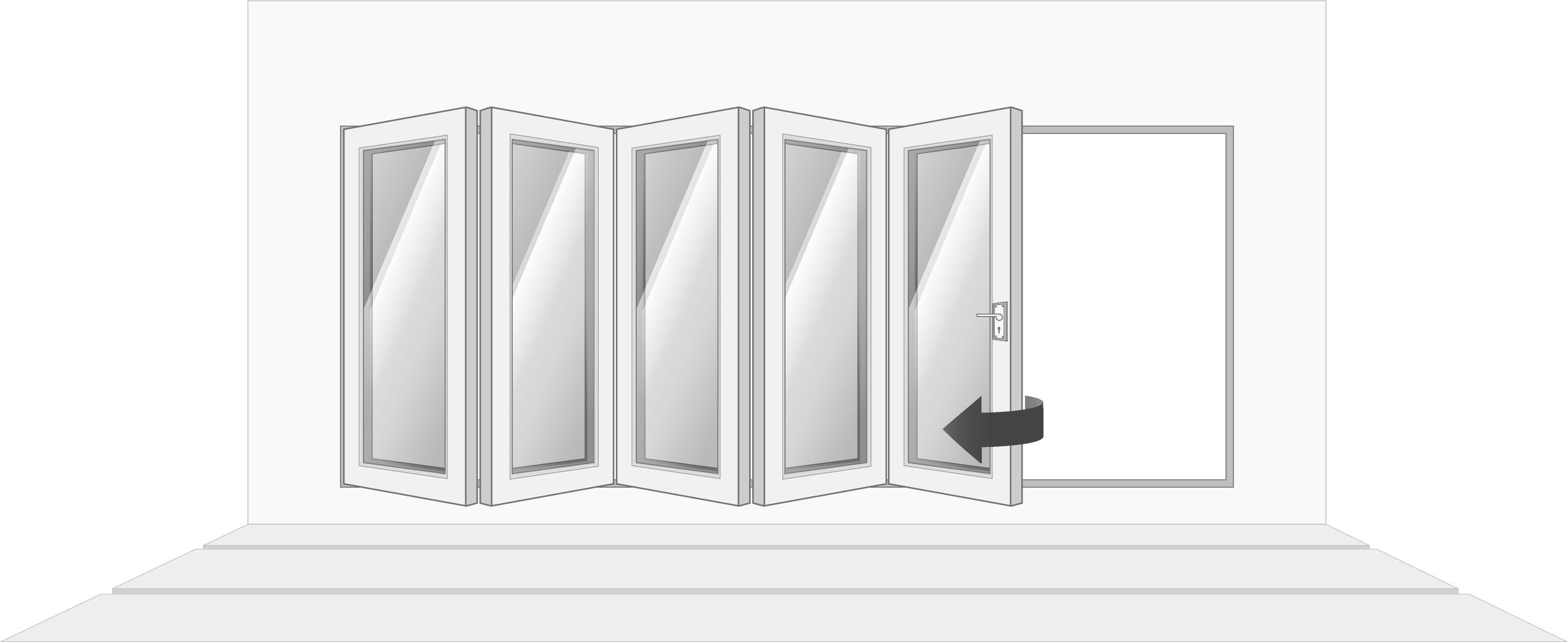 5-door left opening, open