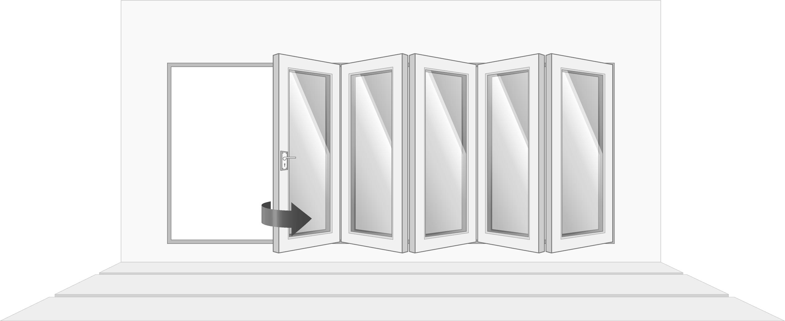 5-door right opening, open