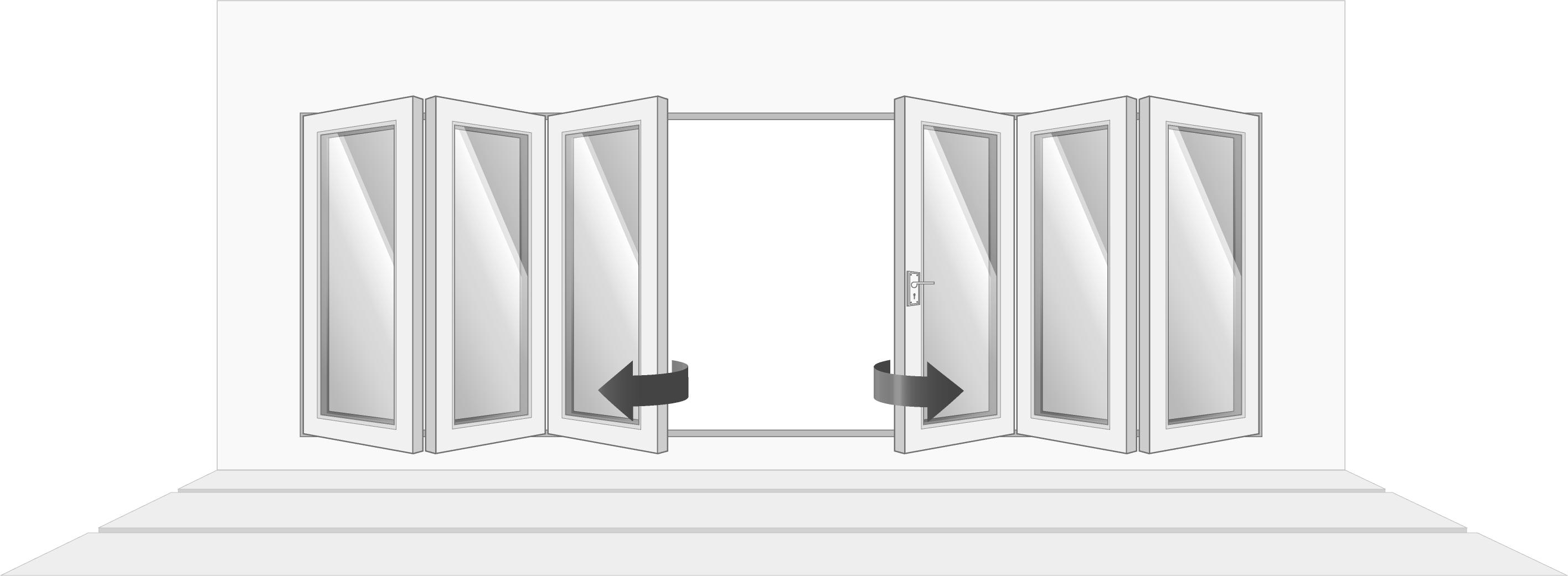 6-door, fully open