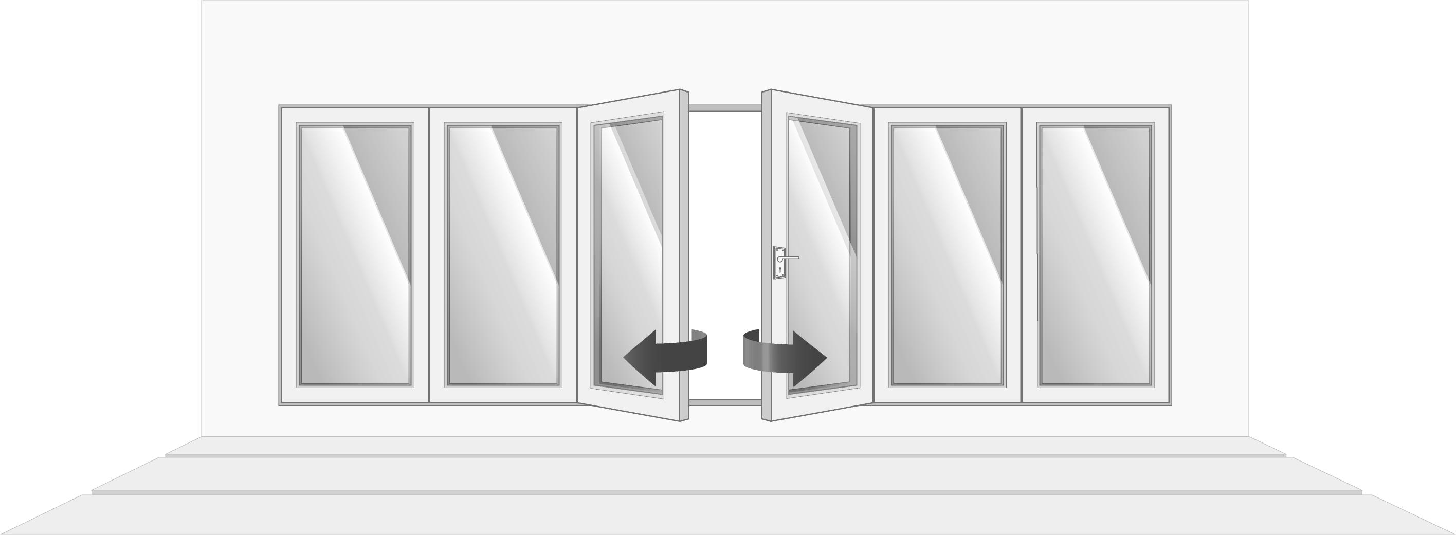 6-door, partially open